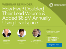 "Don't Forget: ""How Five9 Doubled Their Lead Volume & Added $8.6M Annually Using Leadspace"" Webinar!"