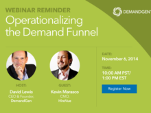 """Don't Forget: """"Operationalizing The Demand Funnel"""" Webinar"""