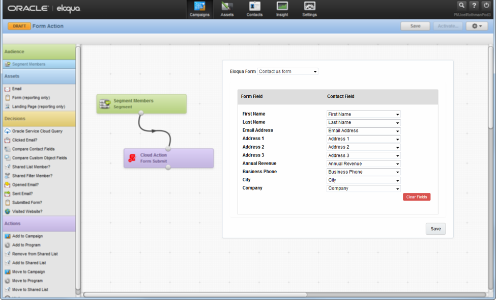 Extending Eloqua's Campaign Canvas with Form Submit Action Dashboard Example 4