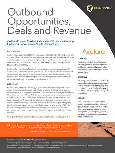 Outbound Opportunities, Deals and Revenue