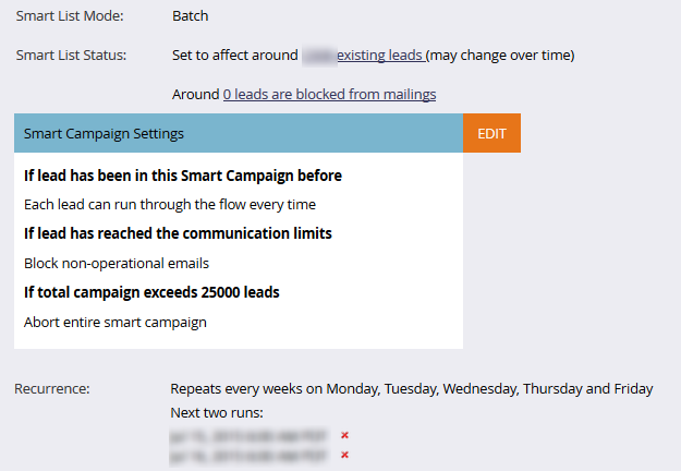 Communication Limits Smart Campaigns List Example 3