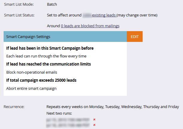 Communication Limits Smart Campaigns List Example 6