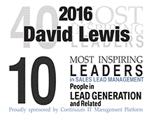 David Lewis Named Most Inspiring Leaders in Sales Lead Generation