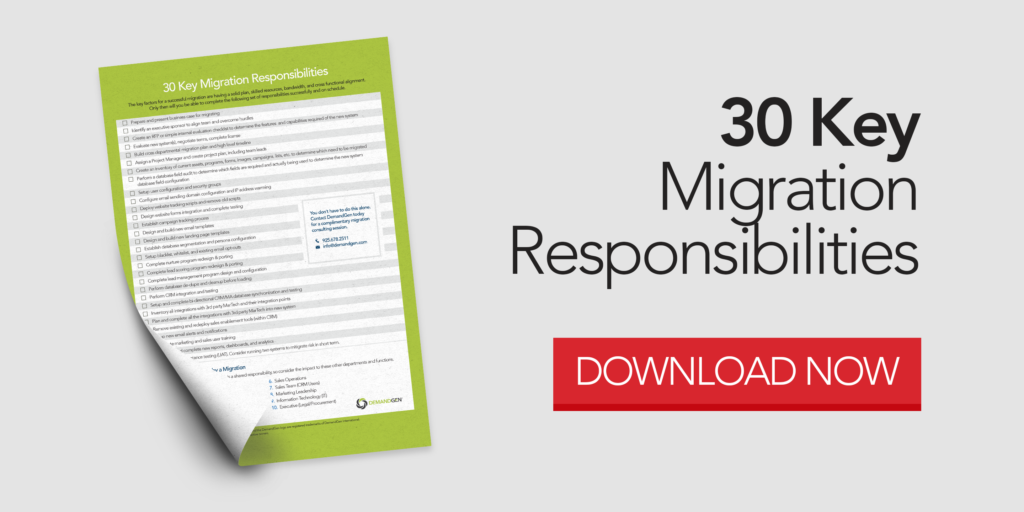 Abandon Ship – How and When to Migrate Your Marketing Automation System_30 Key Migration Responsibilities Download Image