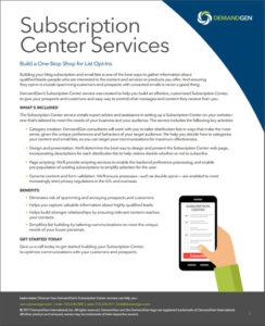 DemandGen Subscription Center Datasheet